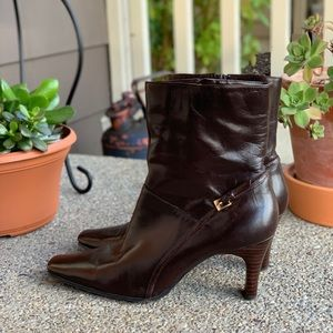 NINE WEST Erin Leather Side Zip Mid-Calf Boots 7.5